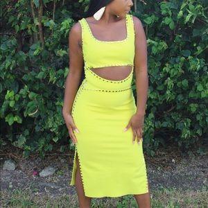 Dresses & Skirts - Yellow Studded Midi Dress